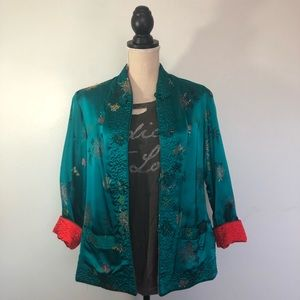 Oriental Green Embroidered Reversible Jacket